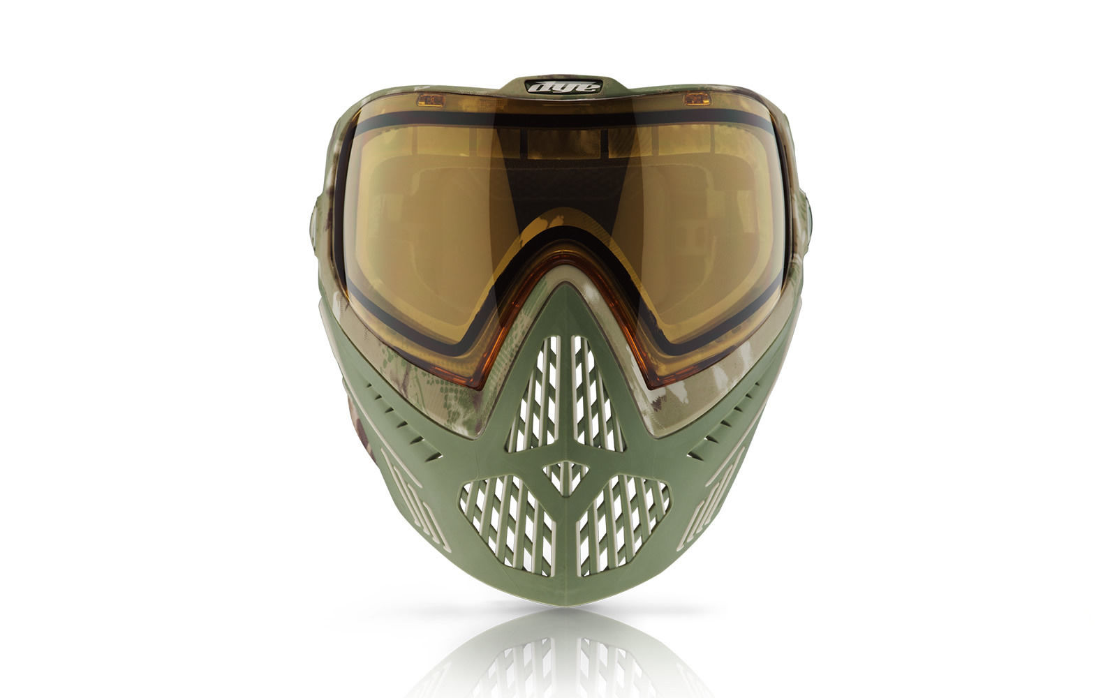 Dye i5 Green Olive and camo mask front view
