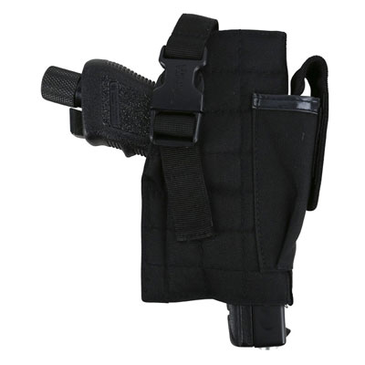 KombatUK Gun Holster with Mag Pouch - Molle - Black (holstered)